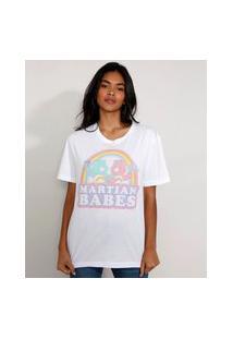 """Camiseta Feminina Manga Curta Ursinhos Carinhosos Martian Babes"""" Ampla Decote Redondo Branco"""""""