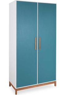 Roupeiro Infantil Guarda-Roupa Mdf Branco E Azul 2 Portas Moderno Moore - 104,6X53X198,5 Cm