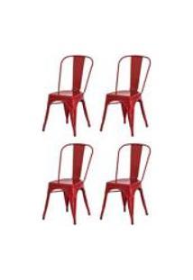 Kit 4 Cadeiras Tolix Iron Design Vermelha Aco Industrial Sala Cozinha Jantar Bar