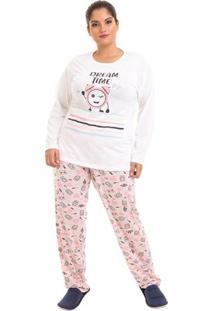 Pijama De Inverno Plus Size Conforto Feminino Adulto Luna Cuore