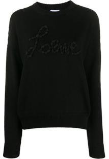 Loewe Suéter Com Aplicações De Logo - Preto