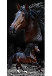 Toalha De Praia Resort Brow Horses- Preta & Marrom Escurbuettner