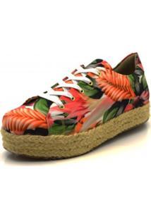 Tênis Flor Da Pele Floral Verão Coral