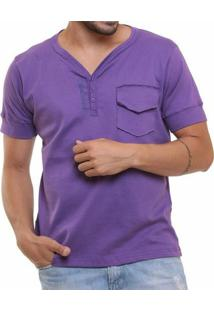 Camiseta Oitavo Ato Henley Masculina - Masculino-Roxo