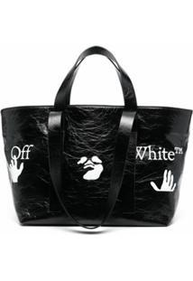 Off-White Bolsa Tote Commercial Pequena - Preto