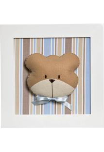 Quadro Decorativo Cara Do Urso Quarto Bebê Infantil Menino Potinho De Mel Azul