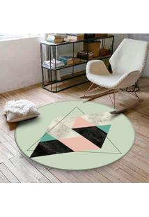Tapete Redondo Wevans Escandinavo Verde 84Cm - Multicolorido - Dafiti