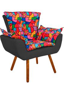 Poltrona Decorativa Opala Suede Composê Estampado Romero Britto D15 E Suede Grafite - D'Rossi