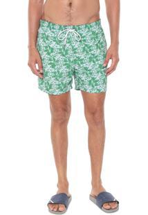 Bermuda Água Richards Quadrada Floral Verde/Branca