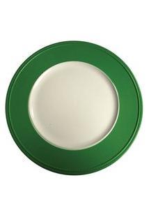 Sousplat Redondo Em Resina Branco E Verde