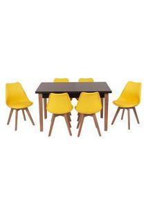 Conjunto Mesa De Jantar Luiza 135Cm Preta Com 6 Cadeiras Leda - Amarelo