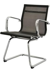 Cadeira Sevilha Eames Fixa Cromada Tela Preta - 38065 - Sun House