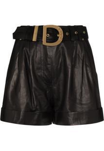 Balmain Short Cintura Alta De Couro - Preto