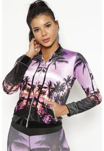 Jaqueta Em Plush- Lilã¡S & Pretaphysical Fitness