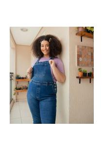 Macacão Jeans Liso Com Bolsos Curve & Plus Size | Ashua Curve E Plus Size | Azul | 52