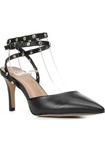 Scarpin Couro Shoestock Bride Rebite Strass Salto Alto - Feminino-Preto