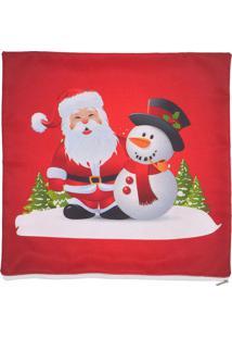 Capa De Almofada Natal- Vermelha & Branca- 45X45Cm