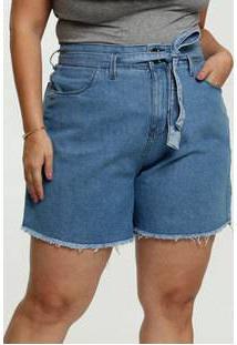 Short Feminino Jeans Tiras Amarração Plus Size Razon