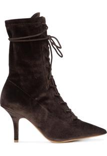 Yeezy Ankle Boot De Couro Com Cadarço - Brown