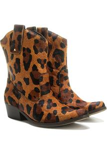 Bota Couro Country Shoestock Onça Feminino - Feminino-Onça