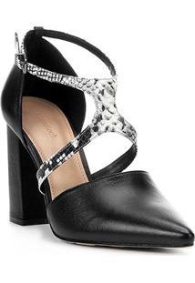 Scarpin Couro Shoestock Linear Snake - Feminino