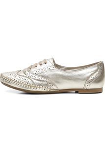Sapato Social Feminino Top Franca Shoes Oxford Confort Ouro Light