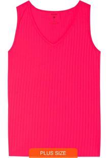 Blusa Rosa Canelada Com Decote V Plus
