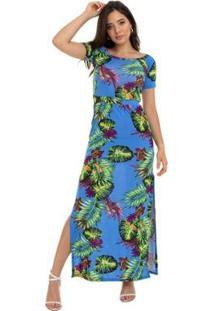 Vestido Manola Gola Canoa Fundo Feminino - Feminino-Azul