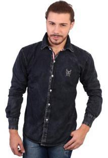 Camisa Manga Longa Polo Super Stone Masculina - Masculino-Preto