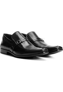 Sapato Social Couro Walkabout Verniz Perfuros Masculino - Masculino-Preto