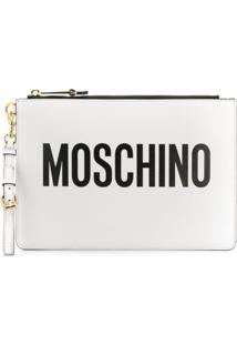 Moschino Bolsa Clutch De Couro Com Logo - Branco