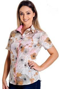 Camisa Pimenta Rosada Kate Floral - Feminino-Branco+Rosa
