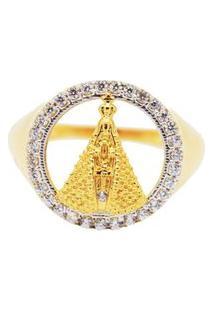 Anel Nossa Senhora Dourada Cravejada Com Cristais Zircônias Banhado A Ouro 18K