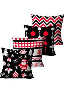 Kit Com 4 Capas Para Almofadas Pump Up Decorativas Natalinas Elementos De Natal Em Preto Vermelho E Branco 45X45Cm