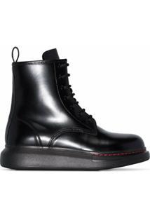 Alexander Mcqueen Ankle Boot Com Plataforma - Preto