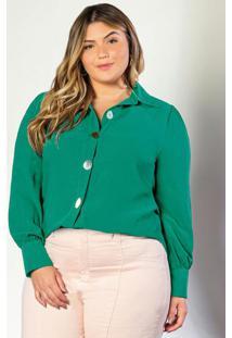 Camisa Em Double Crepe Verde
