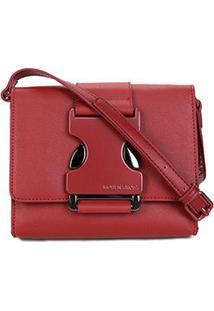Bolsa Morena Rosa Crossbody Mini Bag Detalhe Alça Transversal - Feminino-Bordô