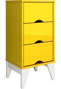 Criado-Mudo 3 Gav. Twister Amarelo Tcil Móveis