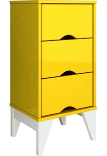 Mesa De Cabeceira 3 Gav. Twister Amarelo Tcil Móveis