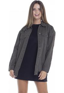 Jaqueta Jeans Denim Zero Oversize Musgo Com Listra Onça