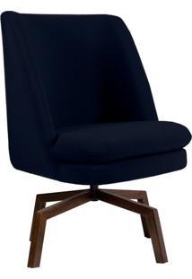 Poltrona Decorativa Giratória Sala De Estar Megara Veludo Azul Marinho - Gran Belo