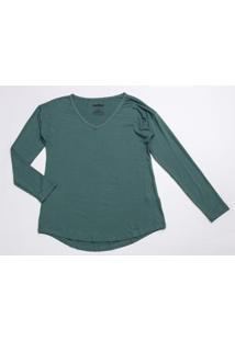Blusa Básica Malha Feminina - Feminino-Verde