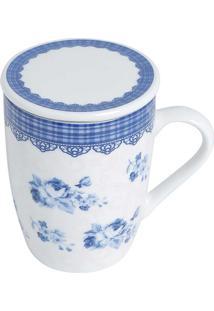 Caneca De Porcelana Super White Com Tampa E Filtro Grécia Azul E Branco 310Ml Com Caixa De Presente Lyor