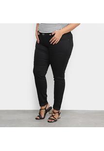 Calça Sarja Xtra Charm Plus Size Skinny Feminina - Feminino-Preto