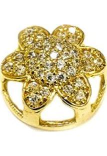 Pingente Prata Mil Flor De Ouro C/ Zircônia Ouro
