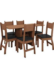 Conjunto De Mesa E 6 Cadeiras Para Sala De Jantar Milano Fosco-Poliman - Carvalho / Preto