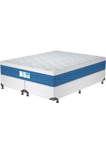 Cama Box Queen Prodormir Blue – Probel - Branco / Azul