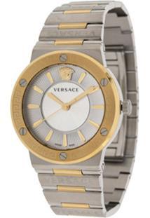 Versace Relógio Greca 38Mm Com Logo - Prateado