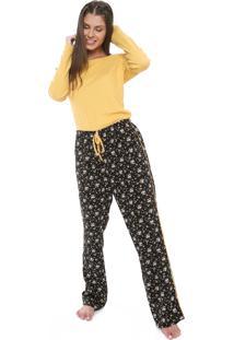 Pijama Hering Estampado Amarelo/Preto