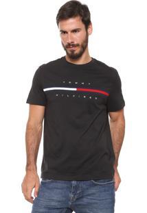 Camiseta Tommy Hilfiger Bordada Preta